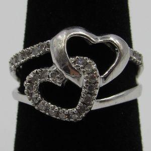 Vintage Estate Size 5 Sterling Diamond Heart Ring